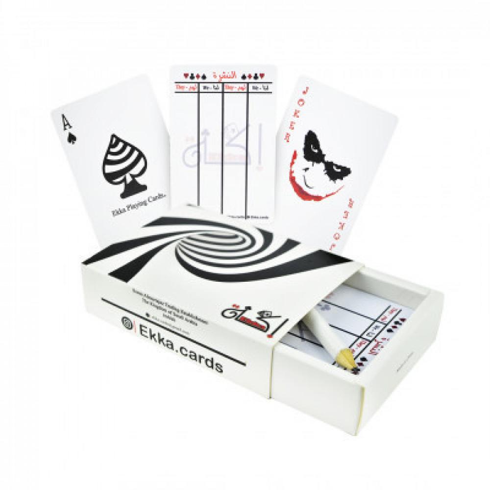 إكة ورق لعب بلوت بلاستيكي 55 كرت أبيض ماركة اصلي