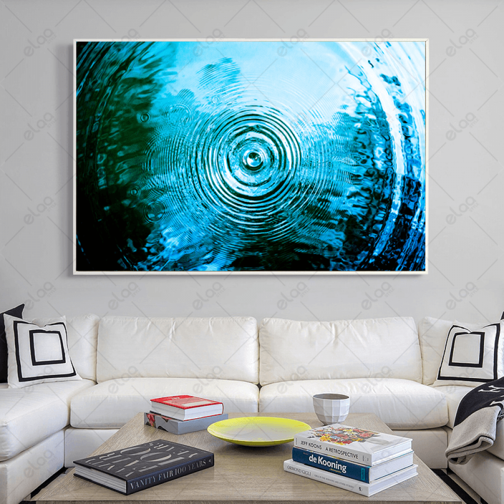 لوحة جدارية لموجات قطرات الماء بدرجات اللون الازرق والمحيطي