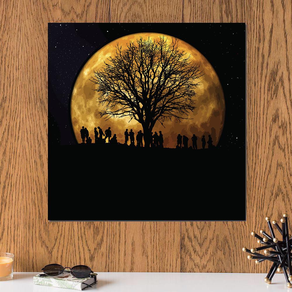 لوحة القمر خشب ام دي اف مقاس 30x30 سنتيمتر