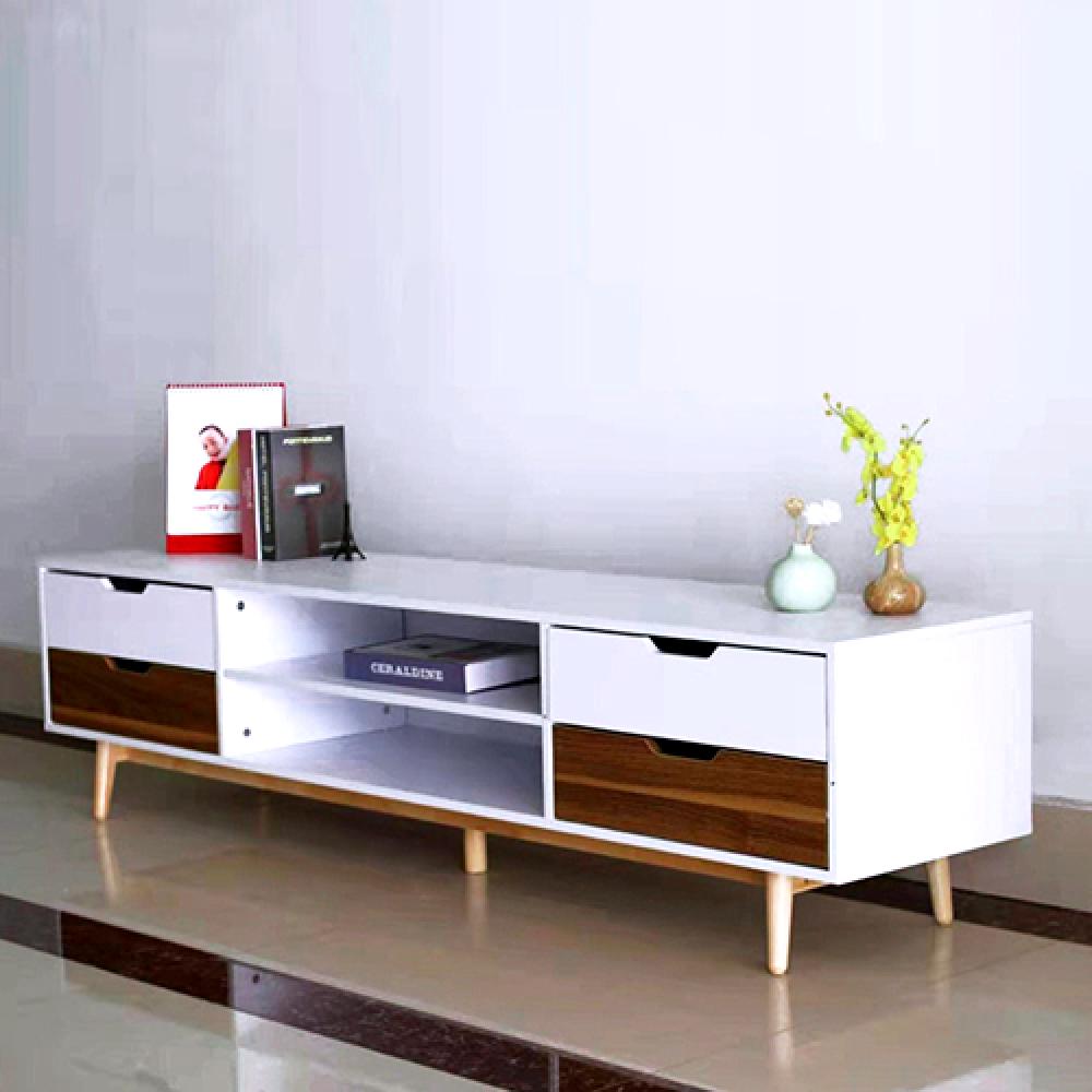 طاولة تلفزيون خشب طبيعي بدرج تخزين سحب موديل super royal
