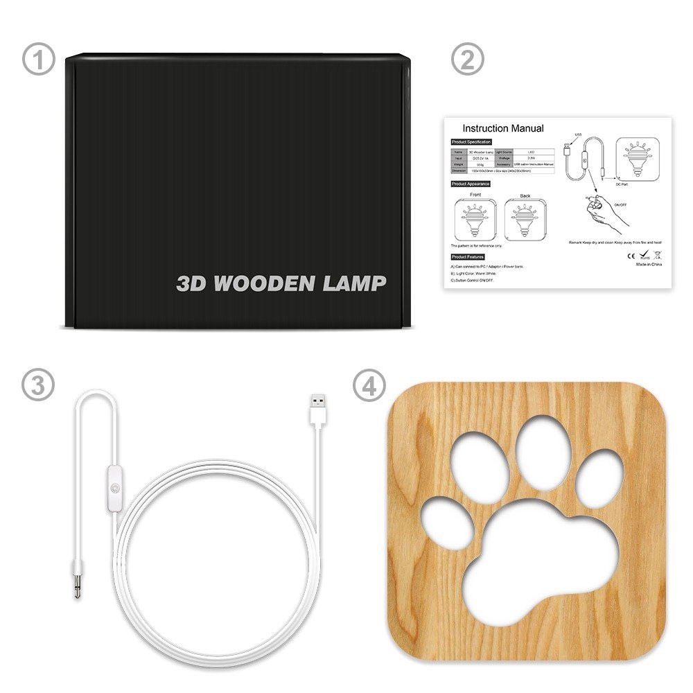 تحفة فنية خشبية مضيئة بشكل بصمة من مواسم توضح تركيب التحفة والإضاءة
