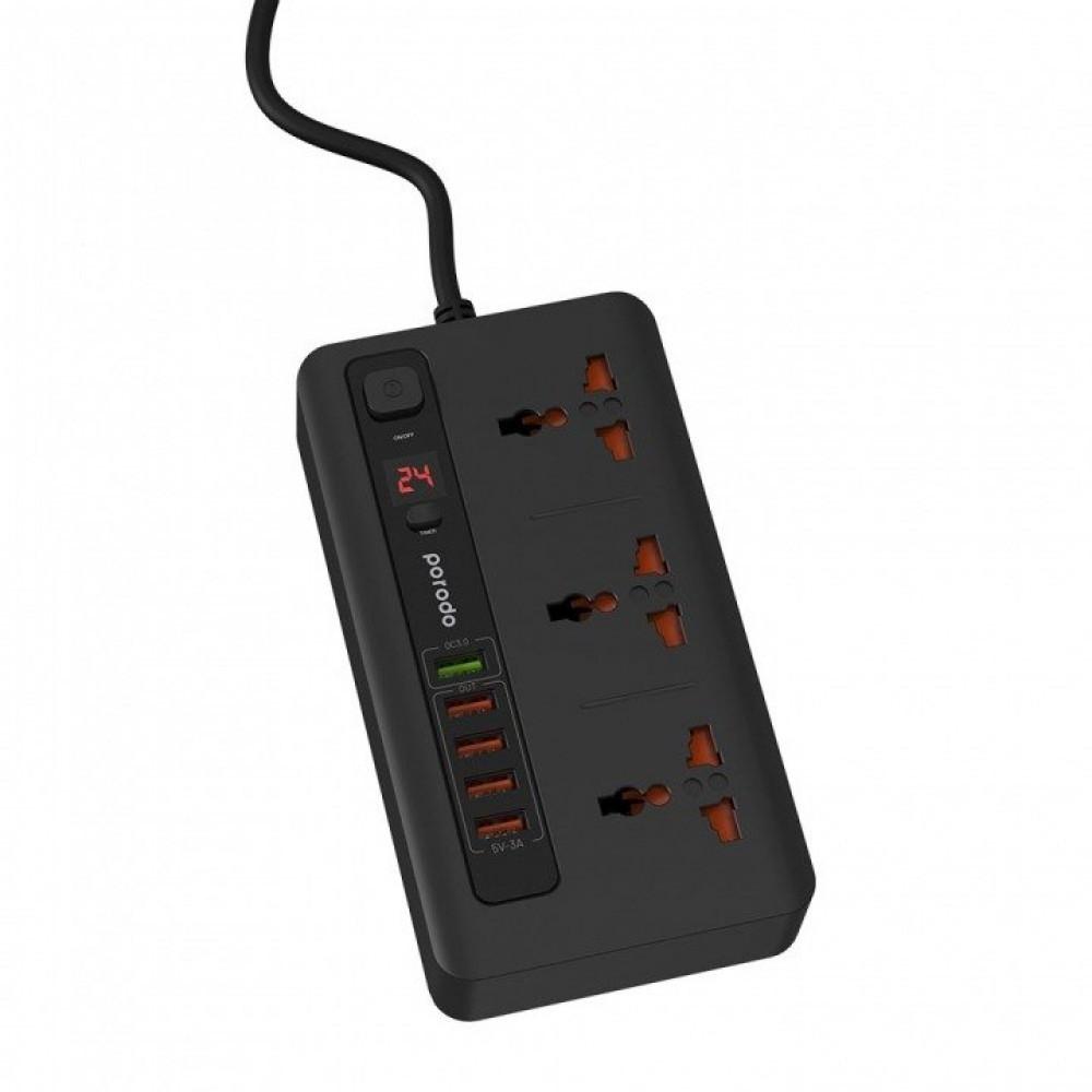 توصيلة كهربائية 2 متر بمؤقت ذاتي 3 افياش و 5 منافذ USB من برودو