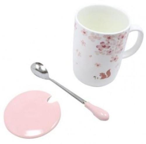 كوب قهوة و شاي من السيراميك مطبوع من 3 قطع مع غطاء وملعقة وردي / أبيض