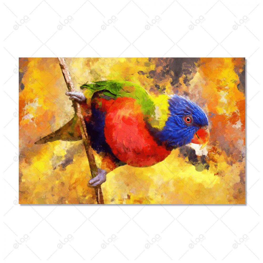لوحة فن تجريدي لببغاء بألوان قوس قزح