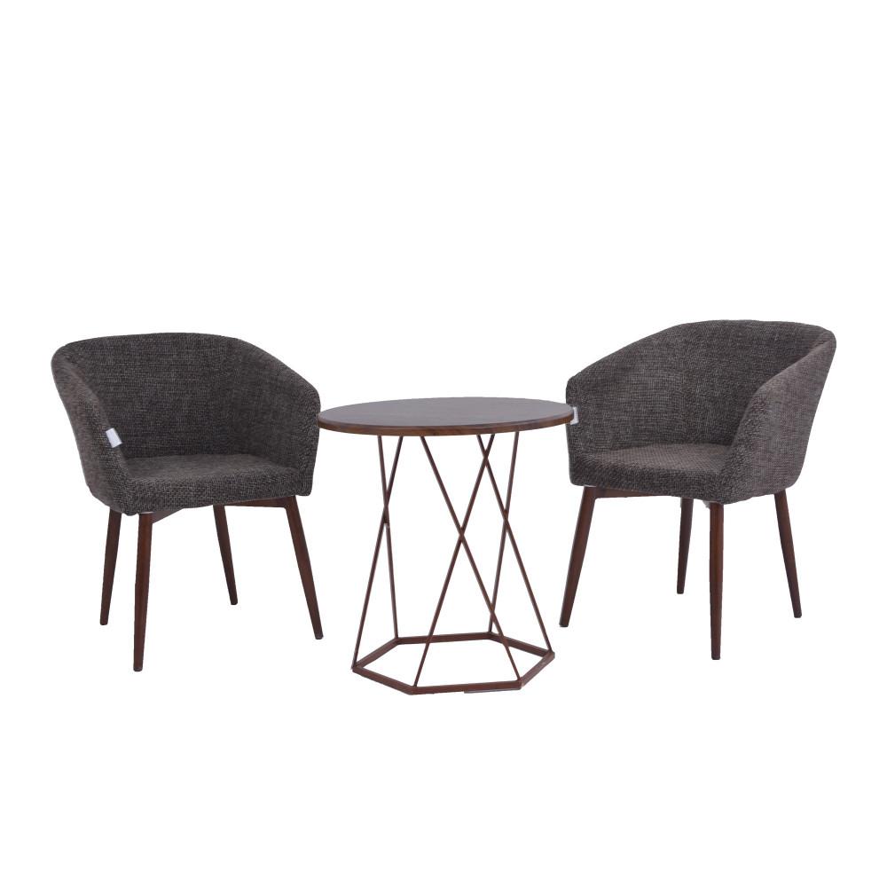 طقم طاولة و 2 كرسي بني