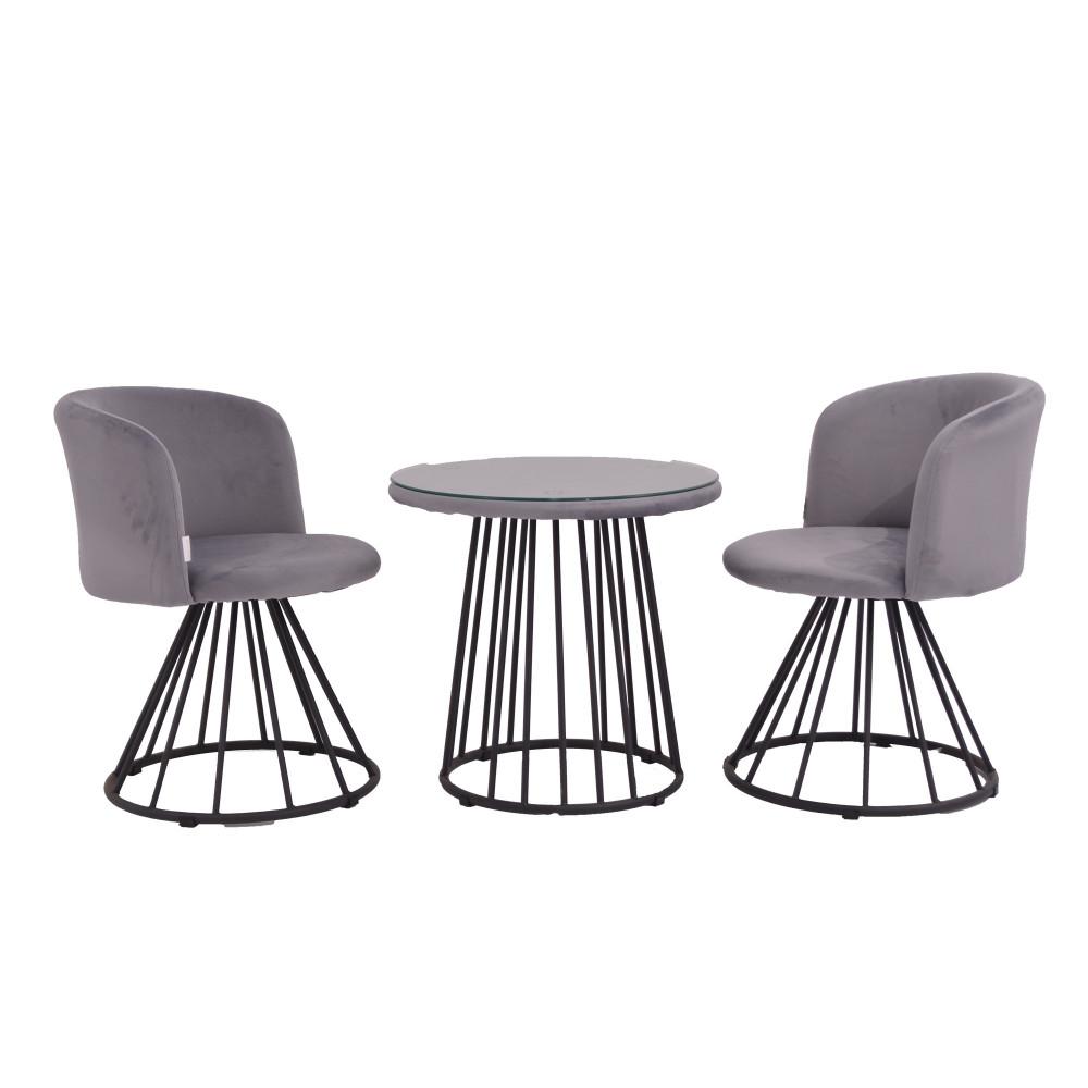 طقم طاولة و 2 كرسي  رمادي