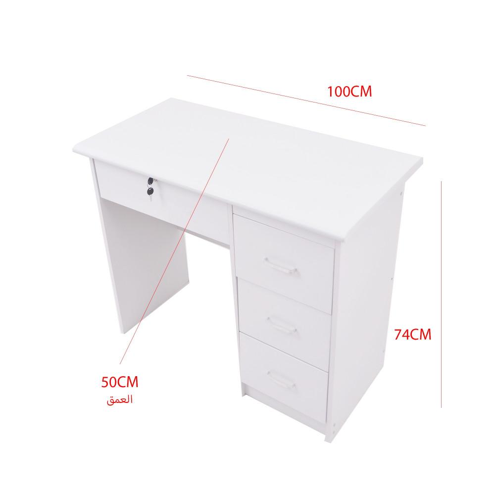 مكتب دراسي100سم خشب مع درج تخزين ورف