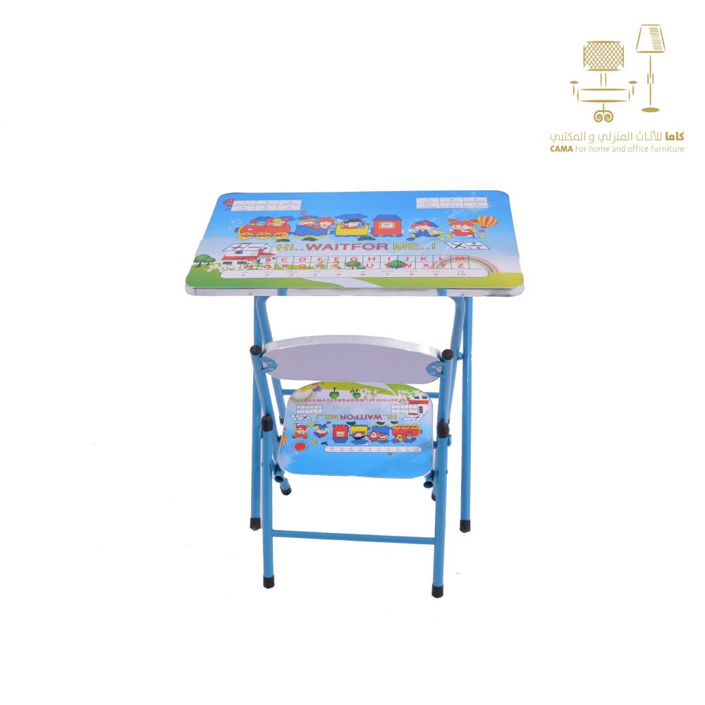 كرسي وطاولة مدرسي ازرق