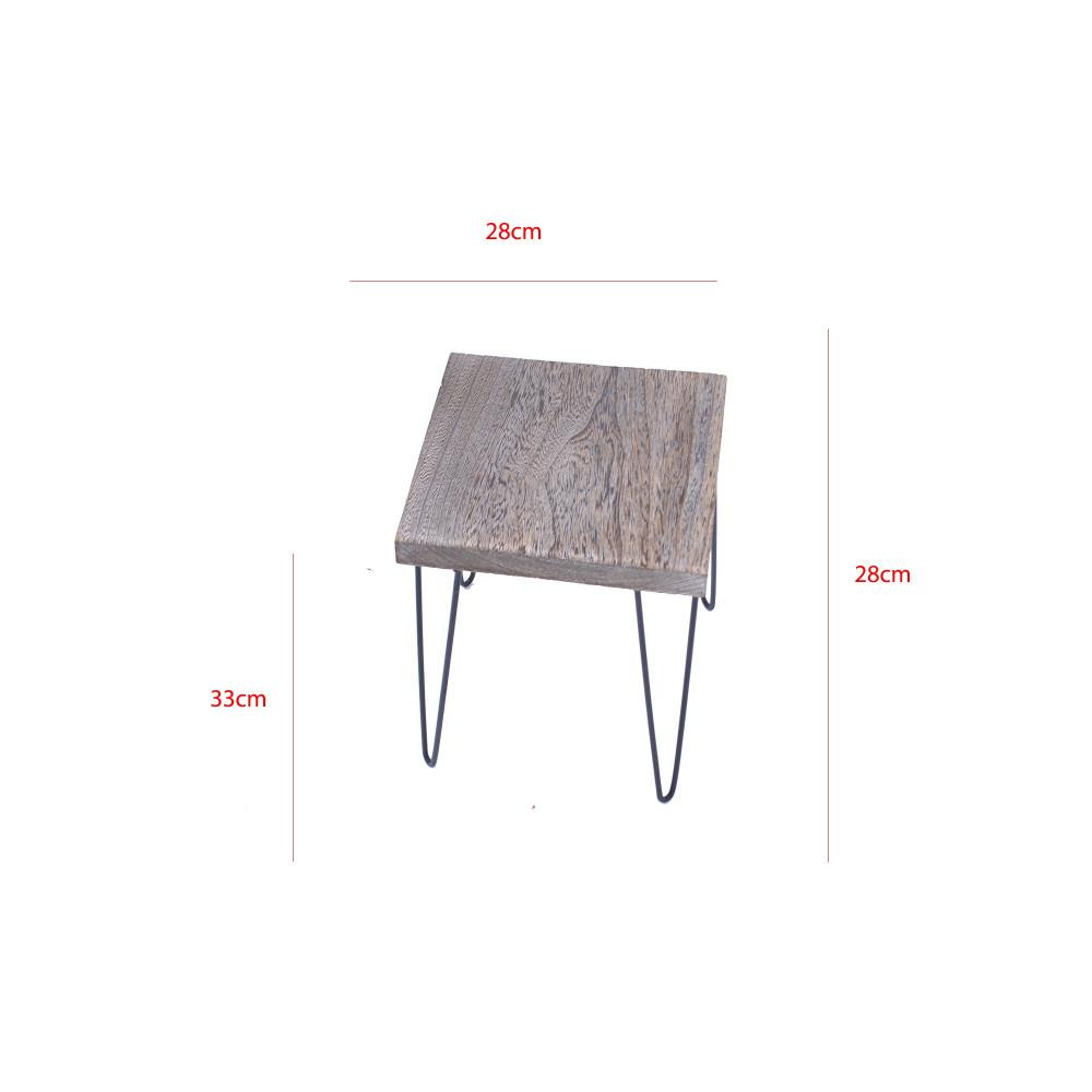 طاولة خدمة مربعة خشب بني بقوائم حديد اسود من كاما C-293681