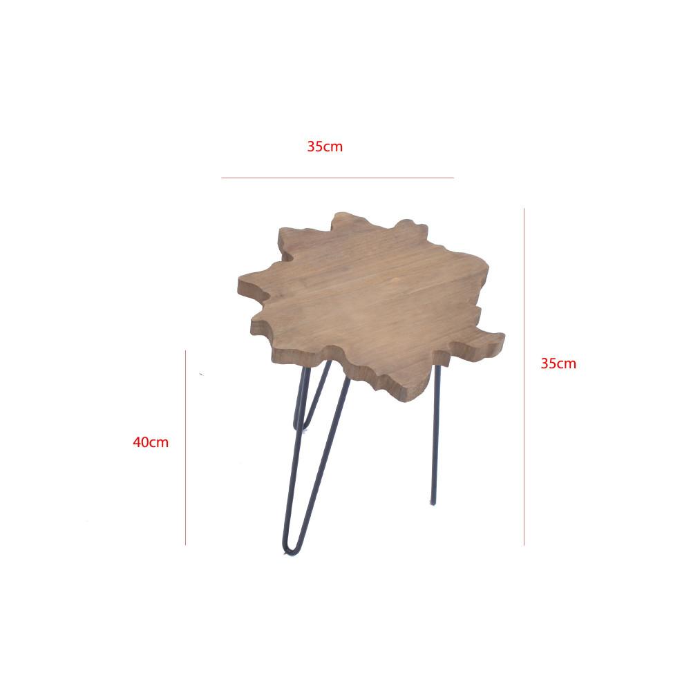 طاولة خدمة خشب علي شكل نجمة بقواعد حديد من كاما C-40402