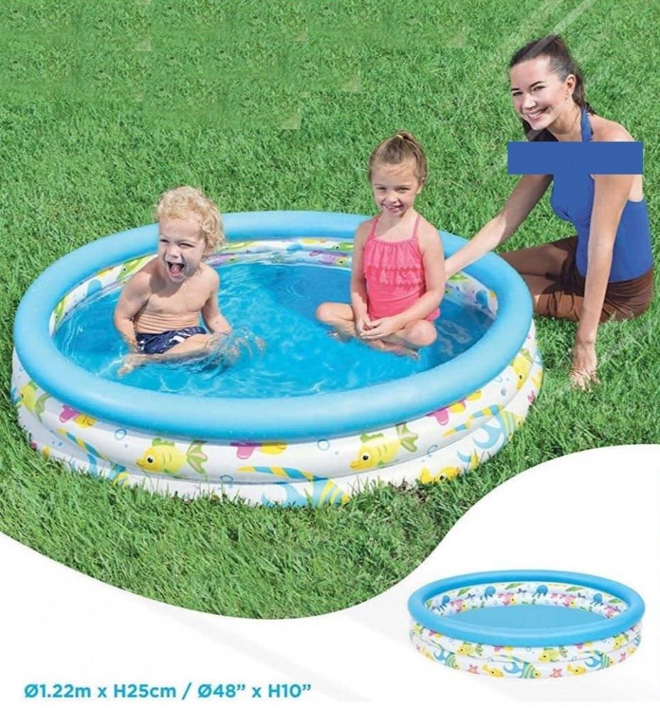 حوض سباحة استحمام قابل للنفخ للأطفال للعب بالماء مقاس داخلي 122X25 سم