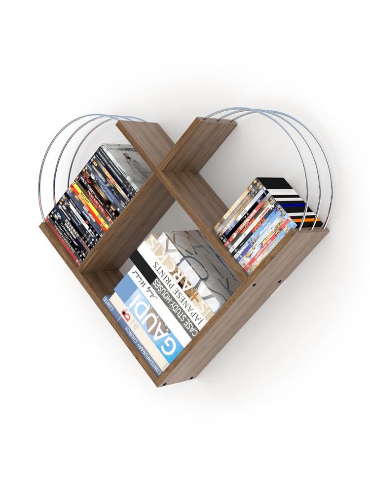 أفخم مكتبات الكتب خزانة كتب صغيرة خشب لون بني بقضبان فضية شكل عصري