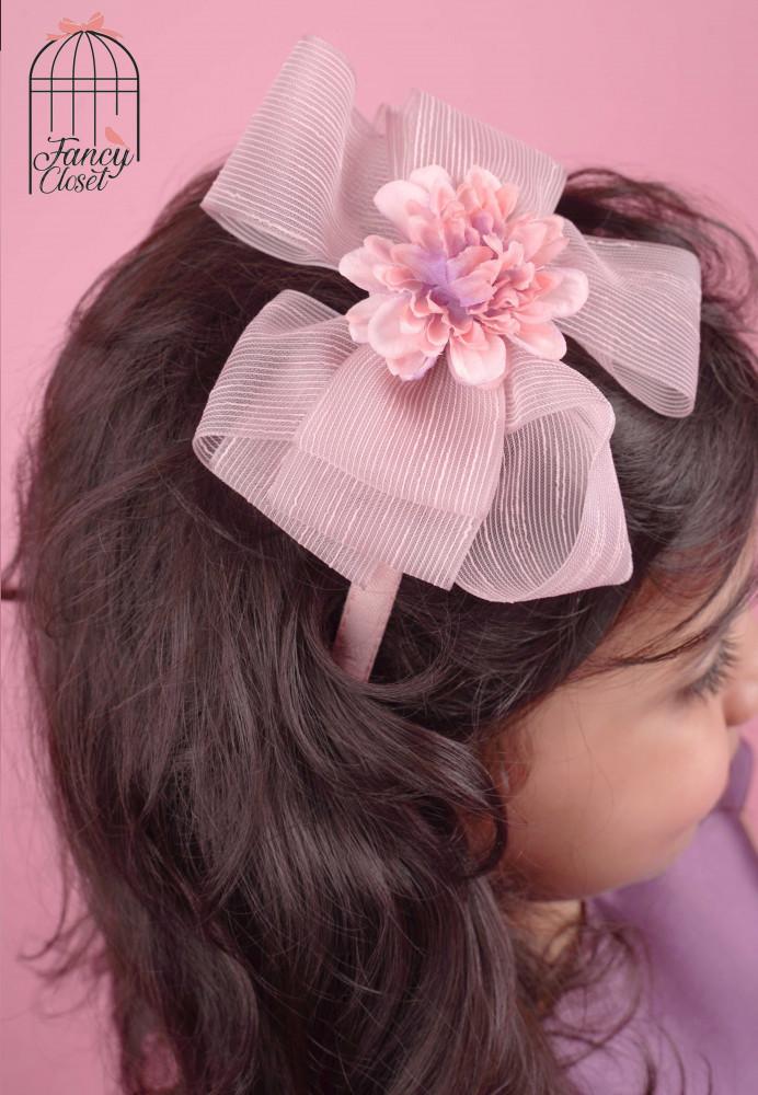 طوق فستان موف ووردي مزين بالورد اطفال