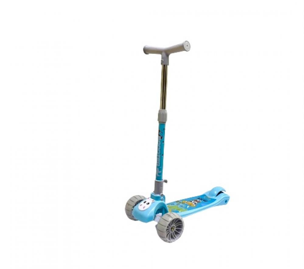 سكوتر دفع قابل للطي بارتفاع قابل للتعديل 3 عجلات بشكل الأرنب