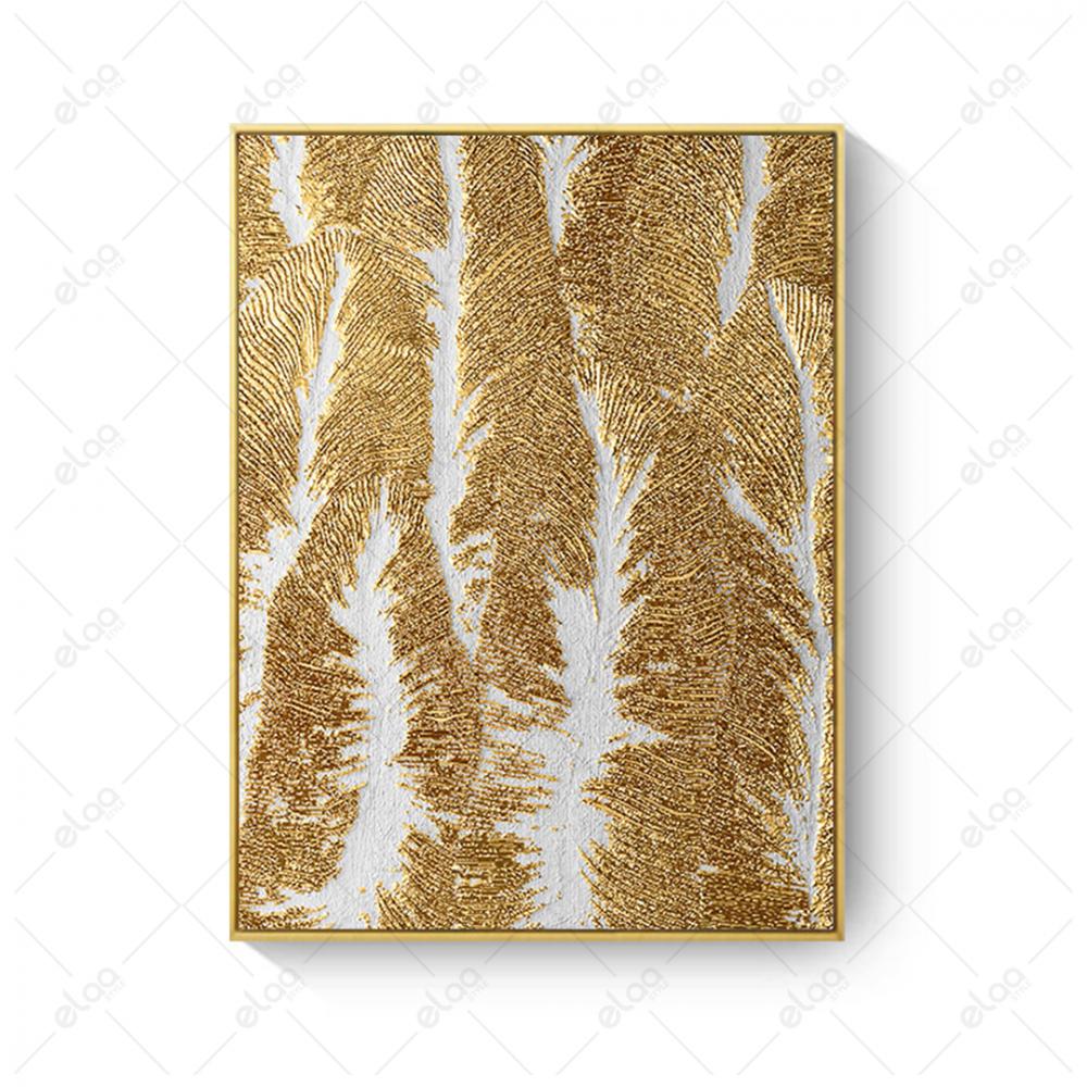 فن تجريدي لورق شجر ذهبي بخلفية رمادية