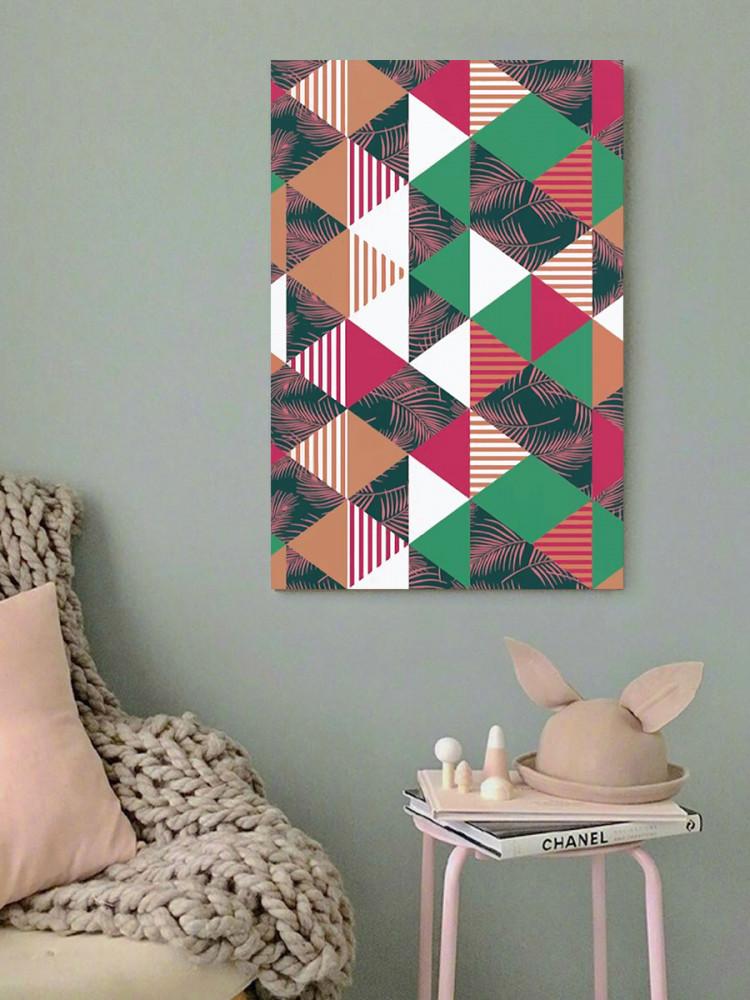 لوحة فن تجريدي مثلثات خشب ام دي اف مقاس 40x60 سنتيمتر