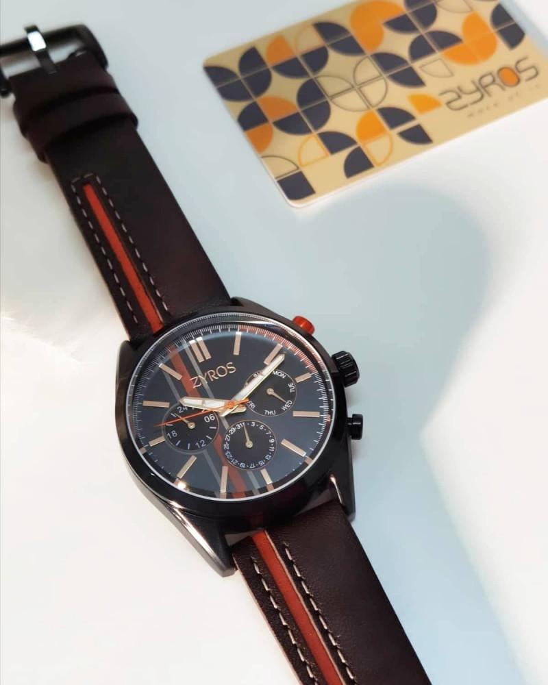 ساعة رجالي بتصميم شبابي باللونين البني والبرتقالي - زايروس
