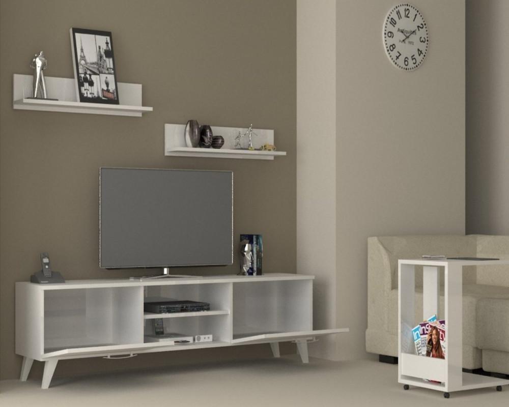 مواسم طاولة تلفاز بيضاء برفوف علوية تصميم أنيق مزودة بوحدات للتخزين