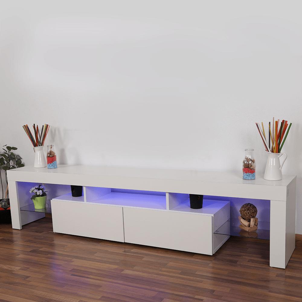 طاولة تلفاز خشبية موديل حديث برفوف زجاجية موديل 2021 ليد من مواسم