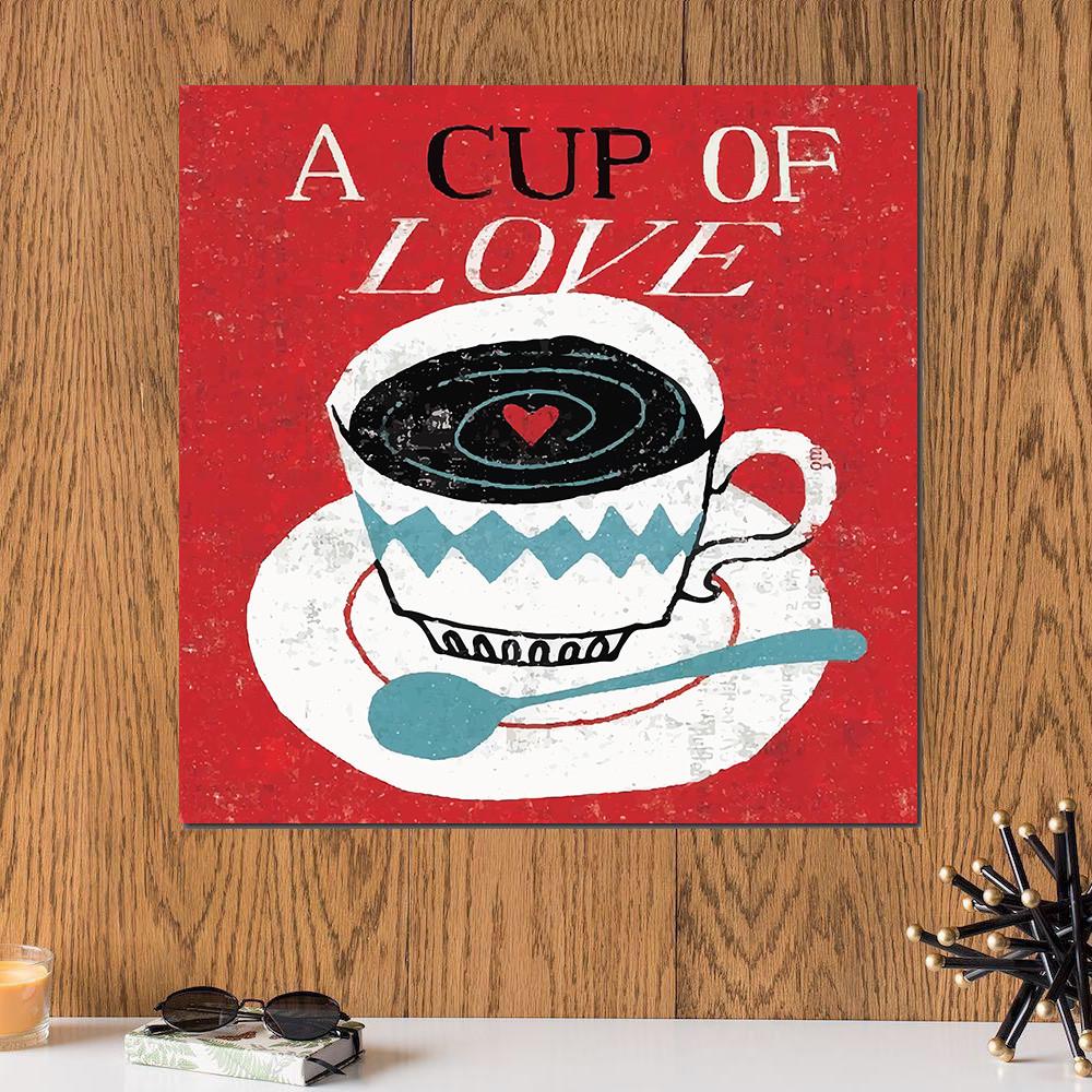 لوحة القهوة فنجان من الحب خشب ام دي اف مقاس 30x30 سنتيمتر