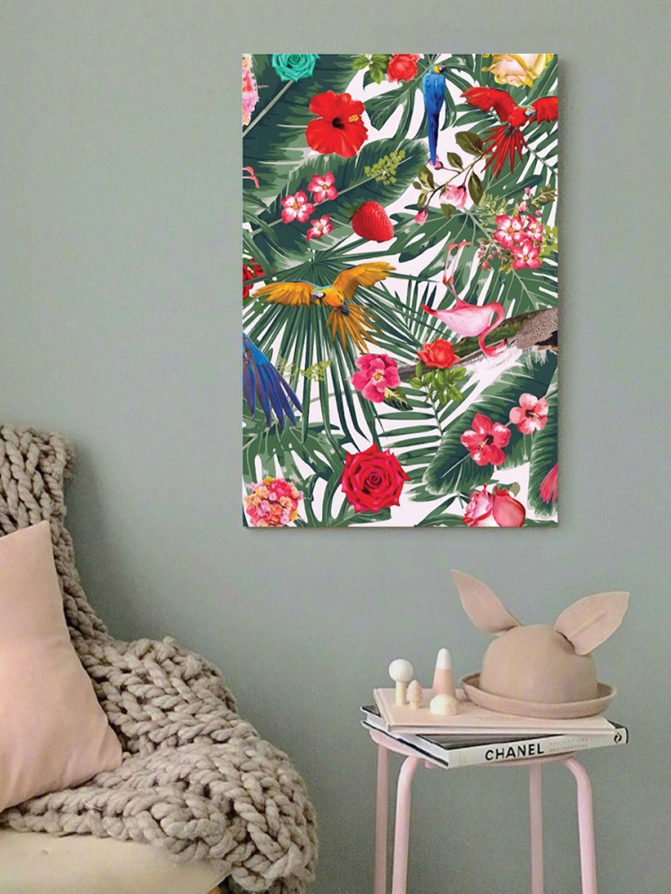 لوحة الطيور و الورد خشب ام دي اف مقاس 40x60 سنتيمتر