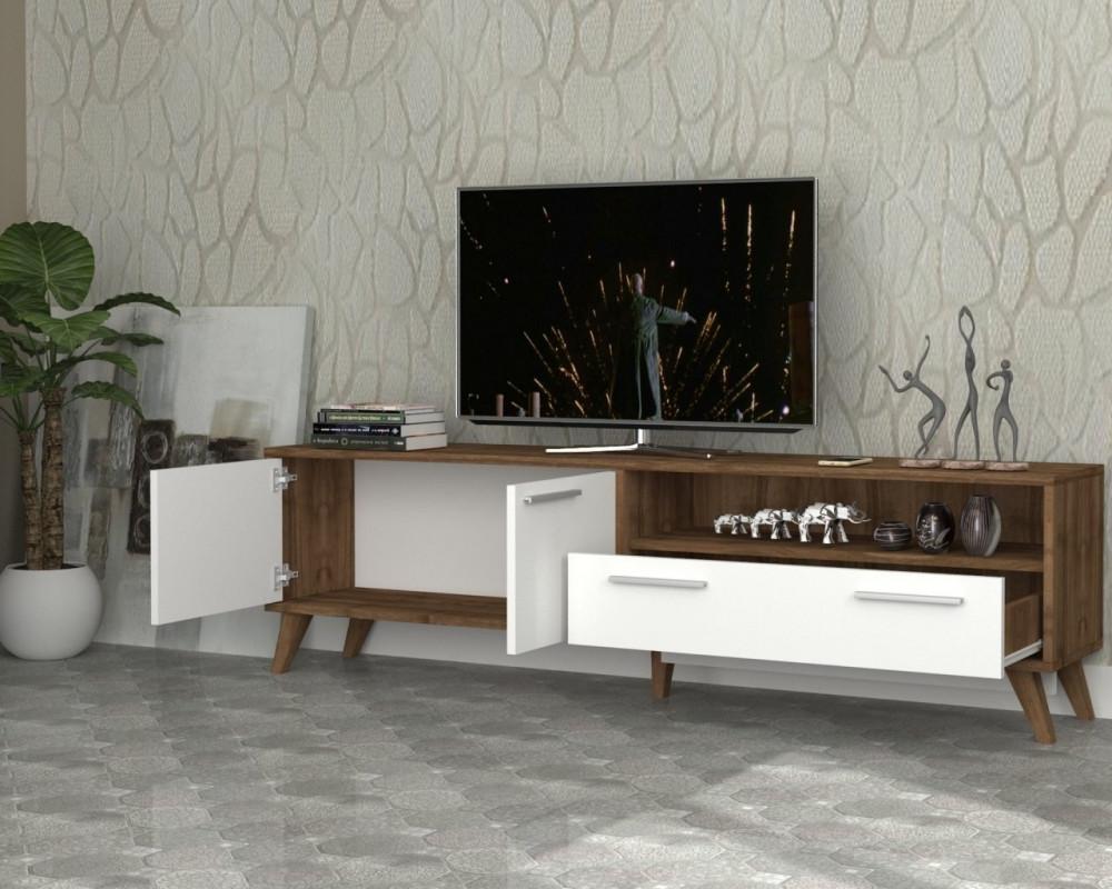 مواسم طاولة تلفاز خشبية بوحدات تخزين ورف لوضع متعلقاتك الشخصية