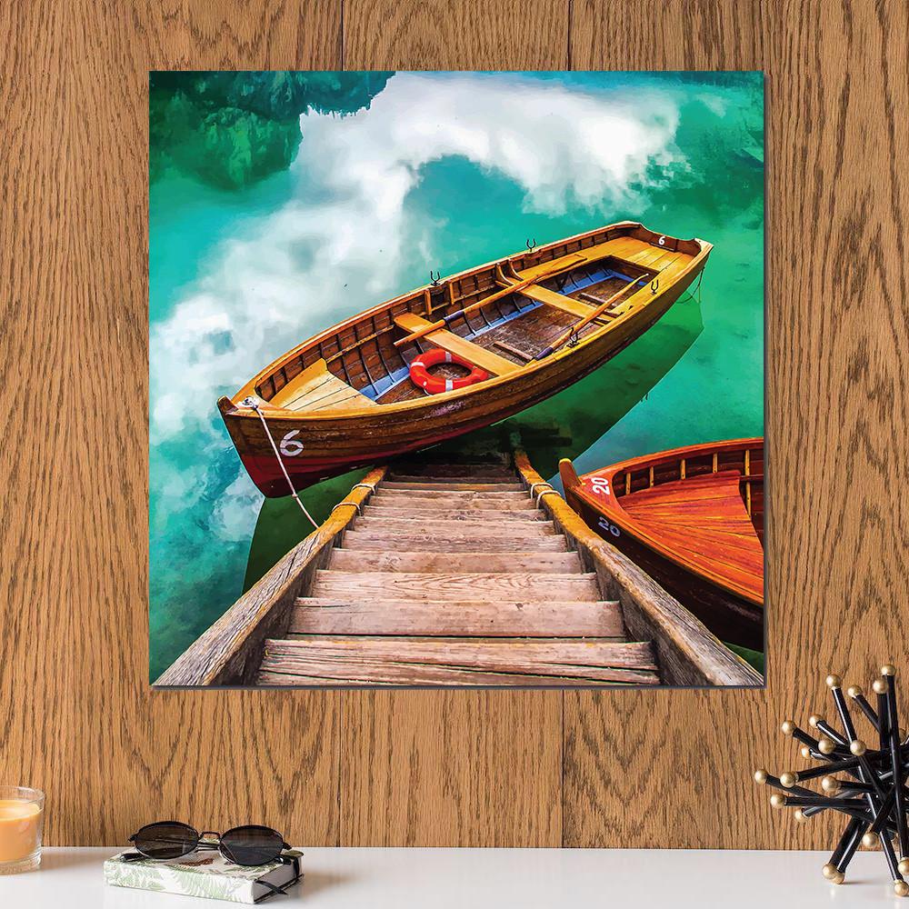 لوحة القارب خشب ام دي اف مقاس 30x30 سنتيمتر