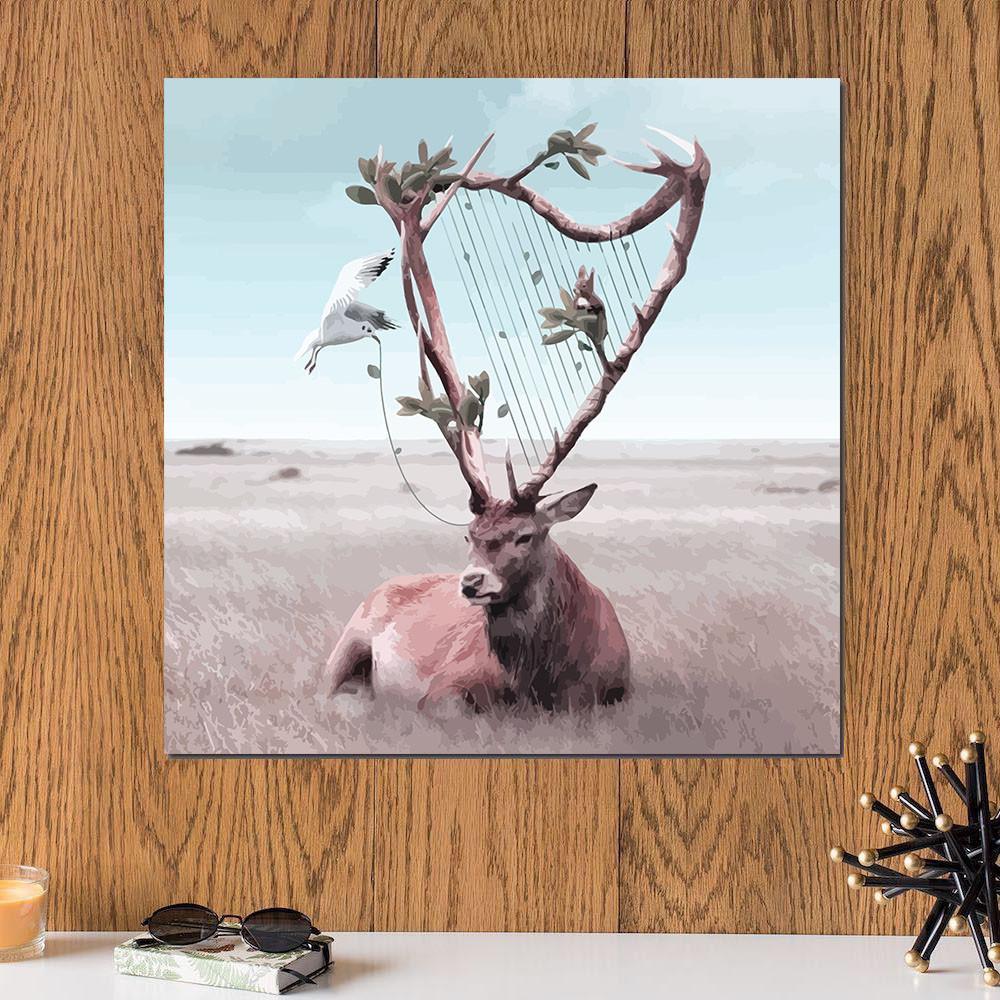 لوحة حيوان الأيل خشب ام دي اف مقاس 30x30 سنتيمتر