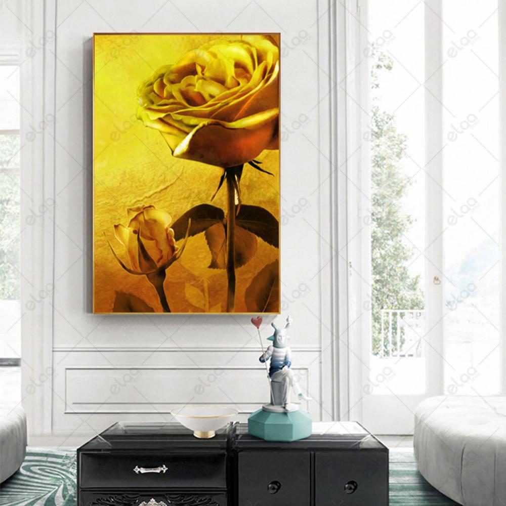 لوحة فن تجريدي لورود باللون الاصفر