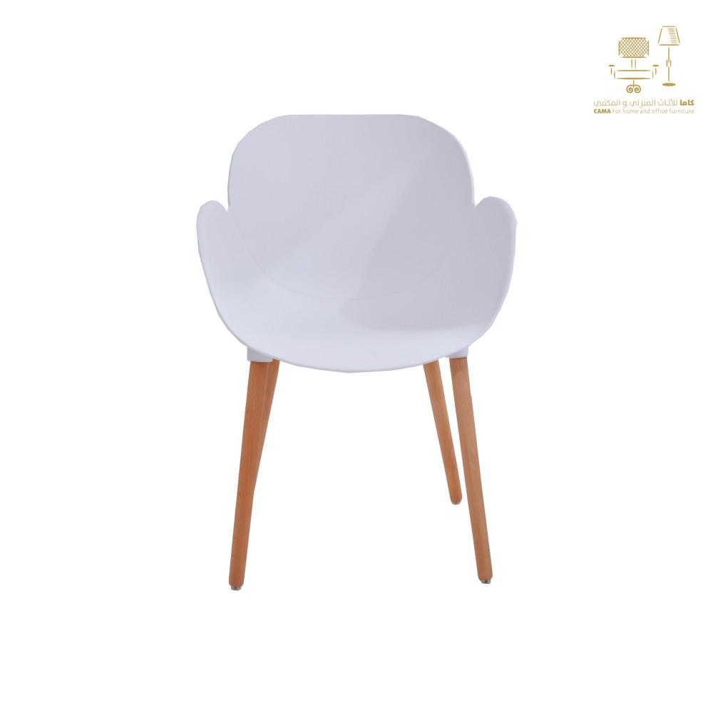 كرسي كاما ابيض فيبر ارجل خشب C-D-855 WHITE