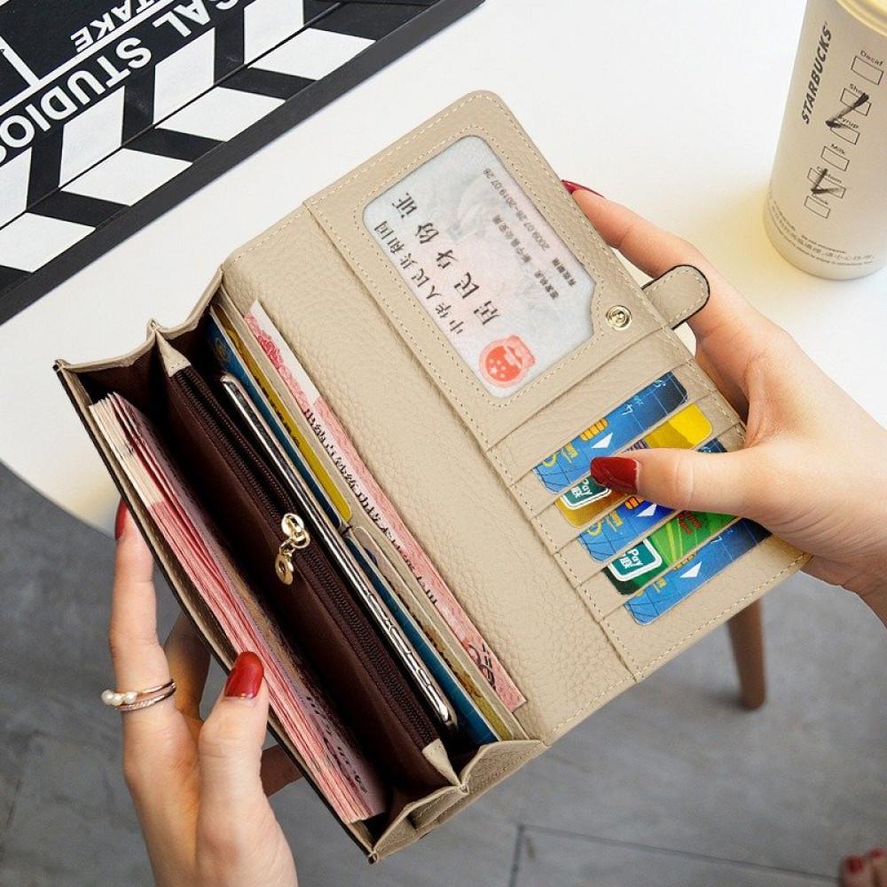 محفظة نسائية كاكي جلدية عصرية - متجر تواجد
