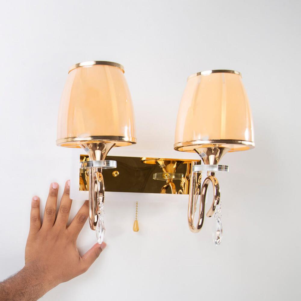 ثريا جدار ذهبية مع قطع كريستال مجوز - فانوس