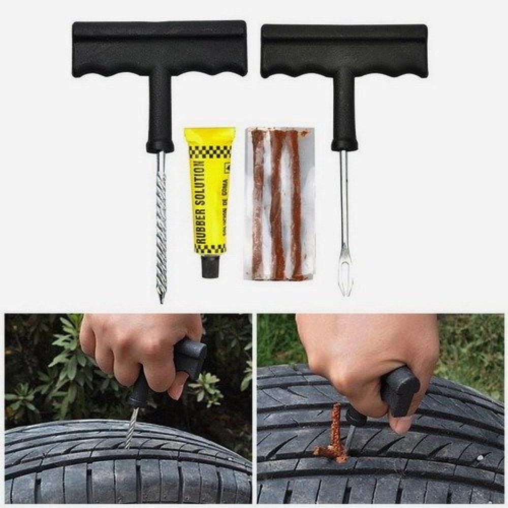 طقم أدوات إصلاح ثقب الإطارات للدراجة والسيارات