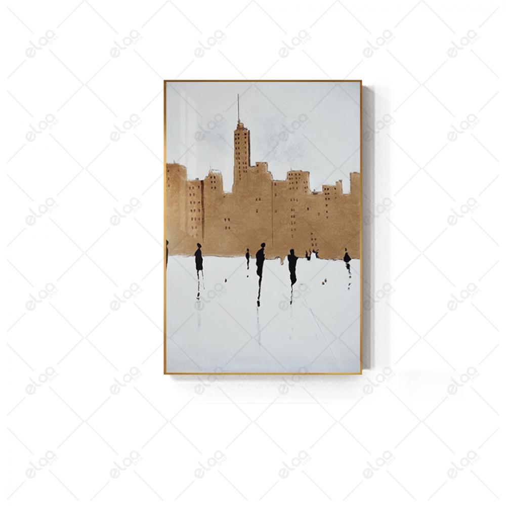لوحة فن تجريدي بالالوان البني والاسود والابيض
