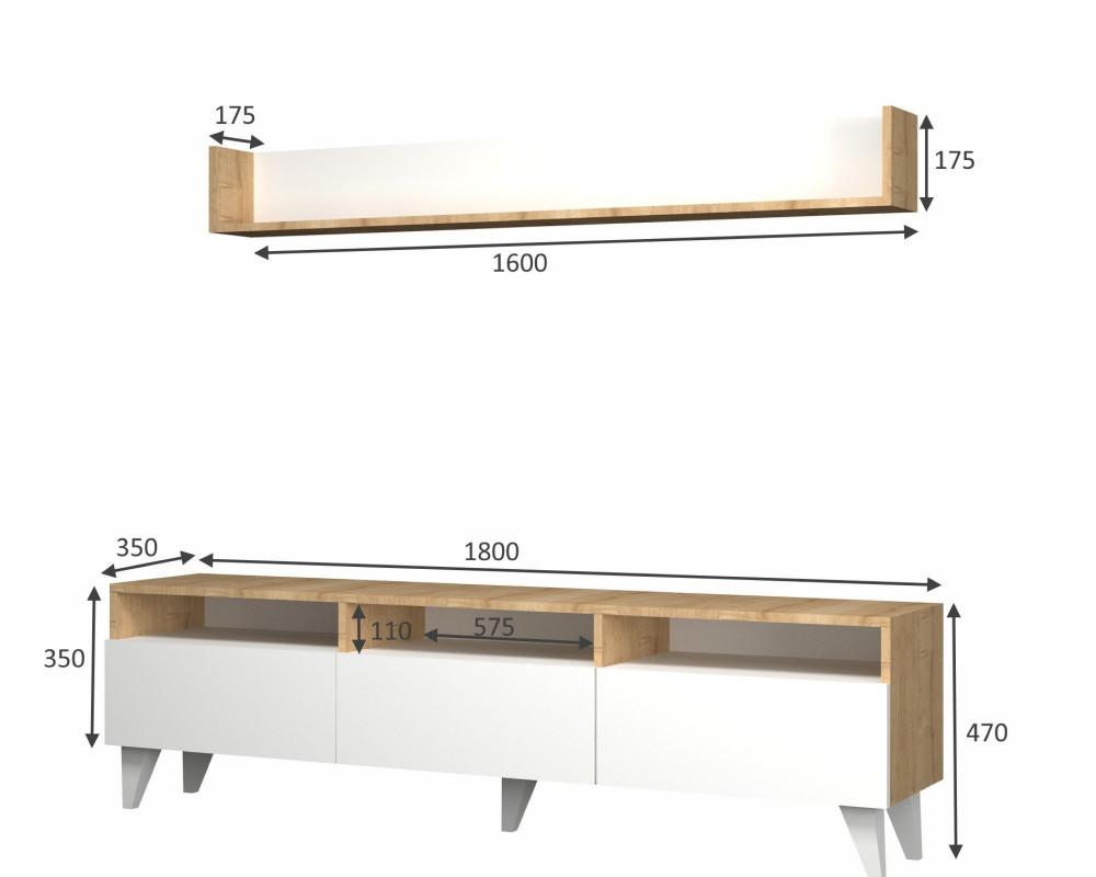 مواسم طاولة تلفاز أنيقه بمساحة للتخزين قياسات تفصيلية لأجزاء الطاولة