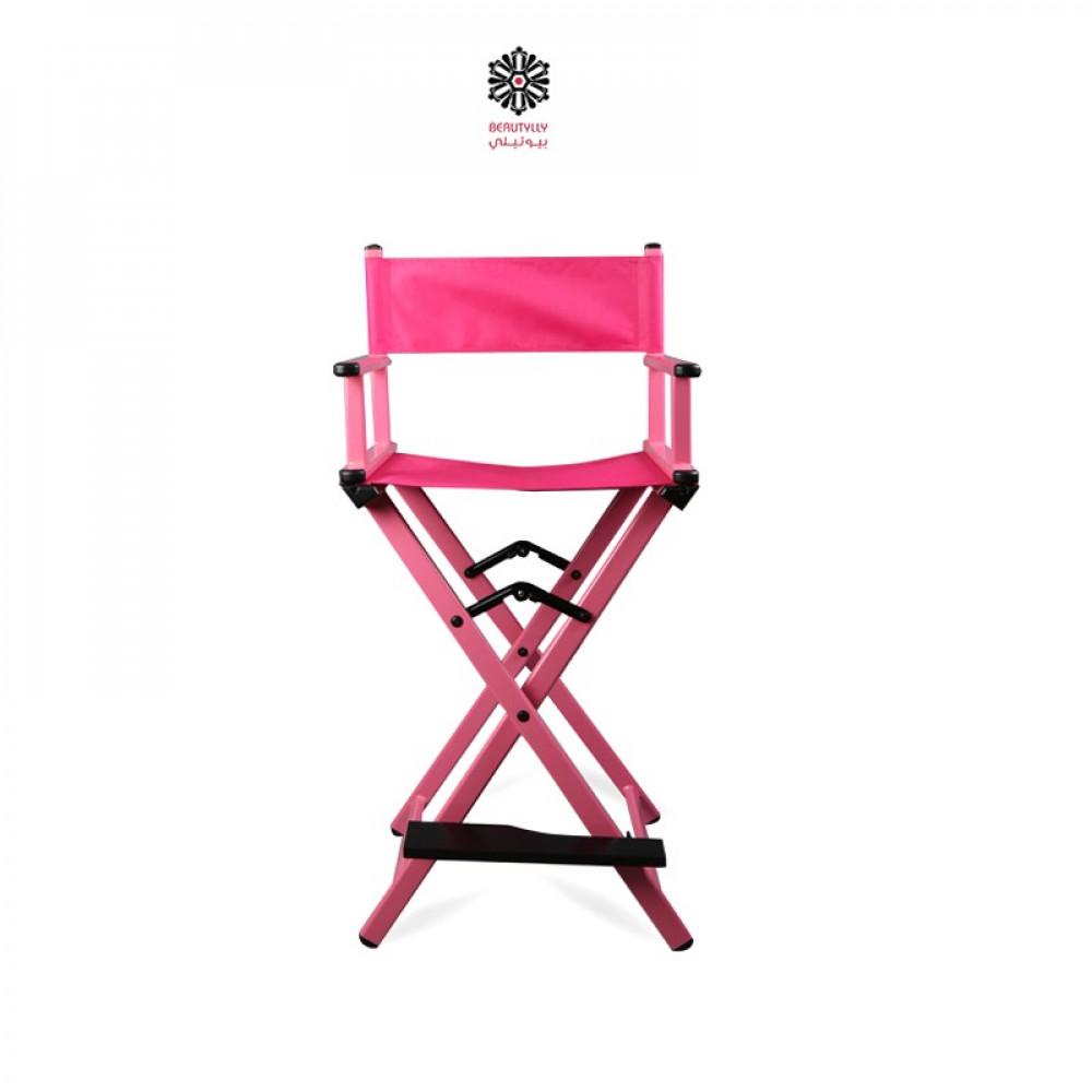 كرسي مكياج متنقل وردي مع قماش وردي غامق