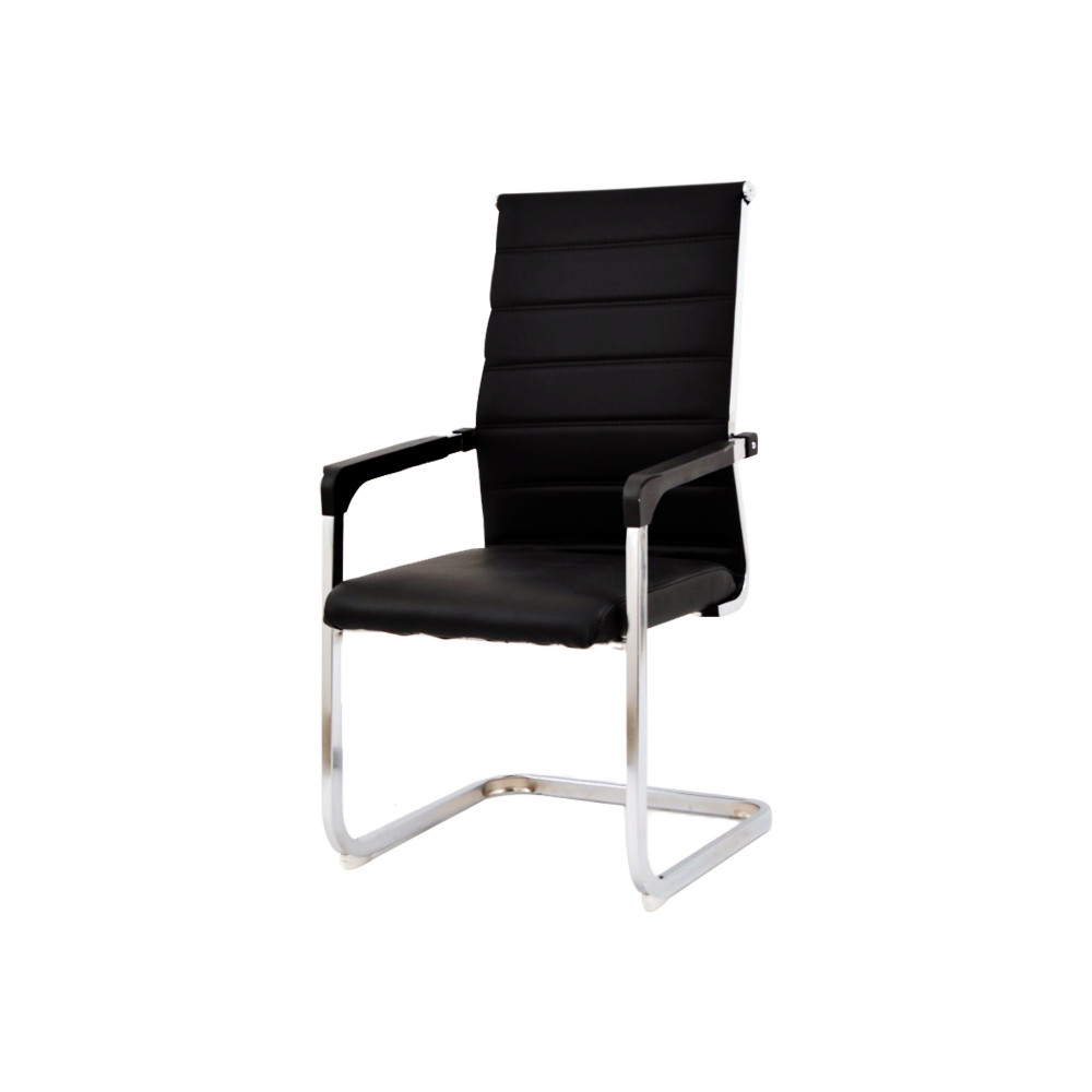 كرسي ثابت جلد اسود ظهر طويل zh-604