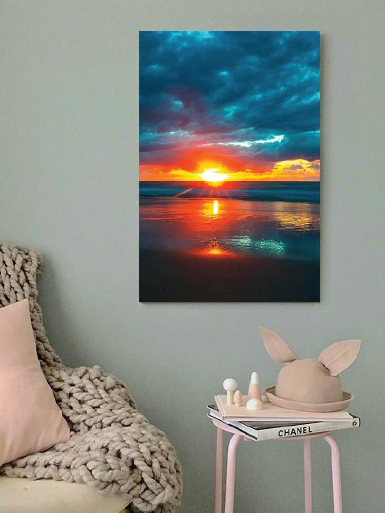 لوحة غروب الشمس خشب ام دي اف مقاس 40x60 سنتيمتر