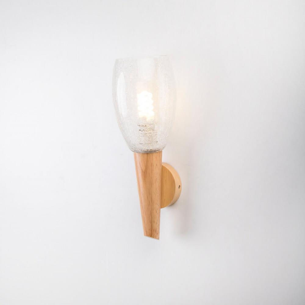 انارة حائطية داخلية خشب مفرد قمع مع زجاج مموج - فانوس