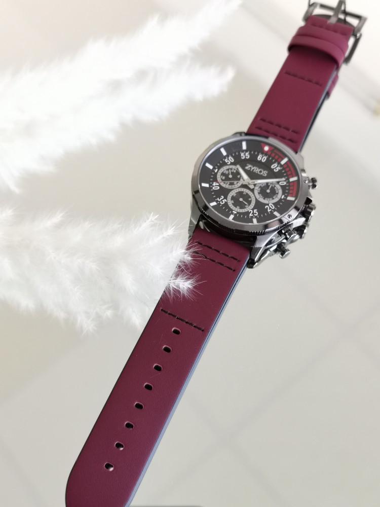 ساعة شبابية أنيقة مصنوعة من الجلد باللون العودي - من ماركة زايروس