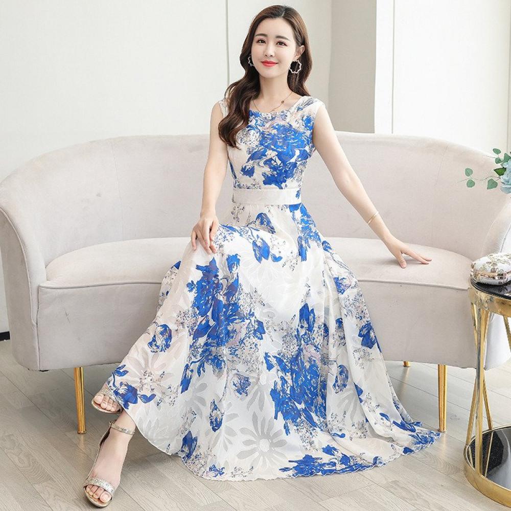 فستان طويل بقصة ضيقة بدون أكمام مزين بنقشة الزهور ستايل كوري 2020