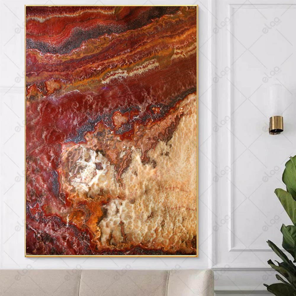 لوحة فن تجريدي خليط من الالوان البني والبرتقالي والبيج