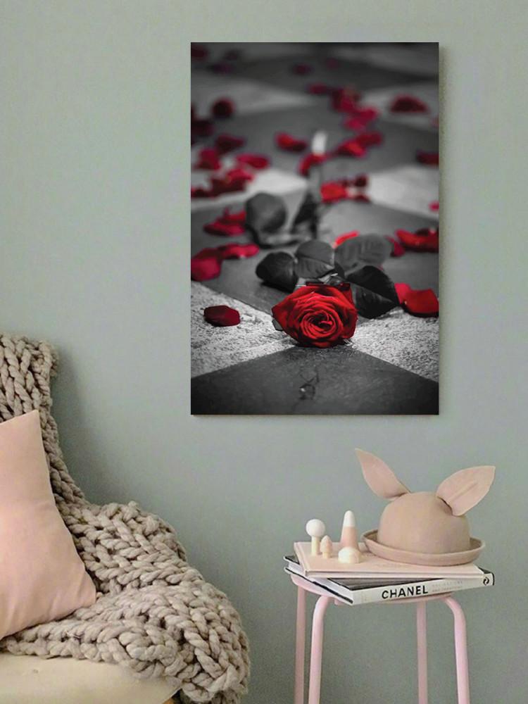 لوحة الوردة الحمراء خشب ام دي اف مقاس 40x60 سنتيمتر