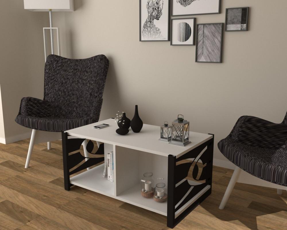 مواسم طاولة بيضاء بأرجل سوداء بتصميم عصري مزينة بالتحف والأنتيكات