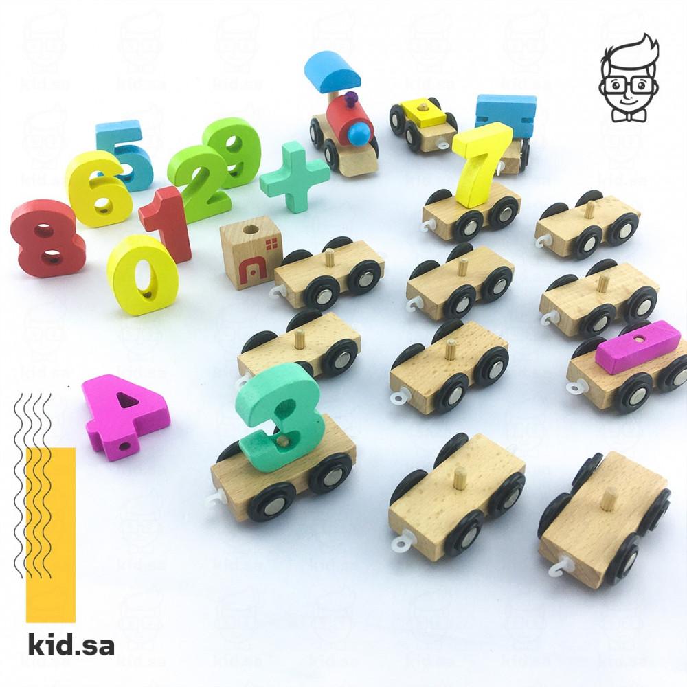 لعبة سيارات الارقام خشبية صغيرة