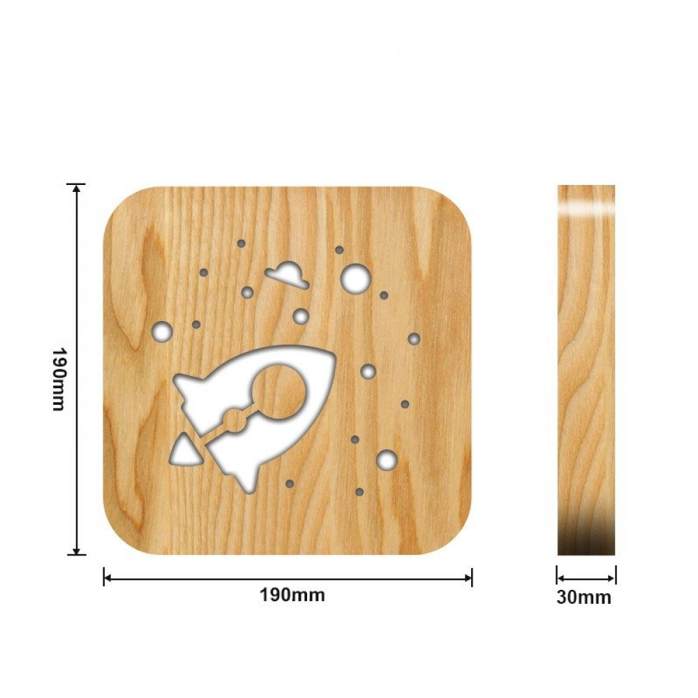 تحفة مضيئة شكل صاروخ خشبية من مواسم القياسات التفصيلية للقطعة والقاعدة