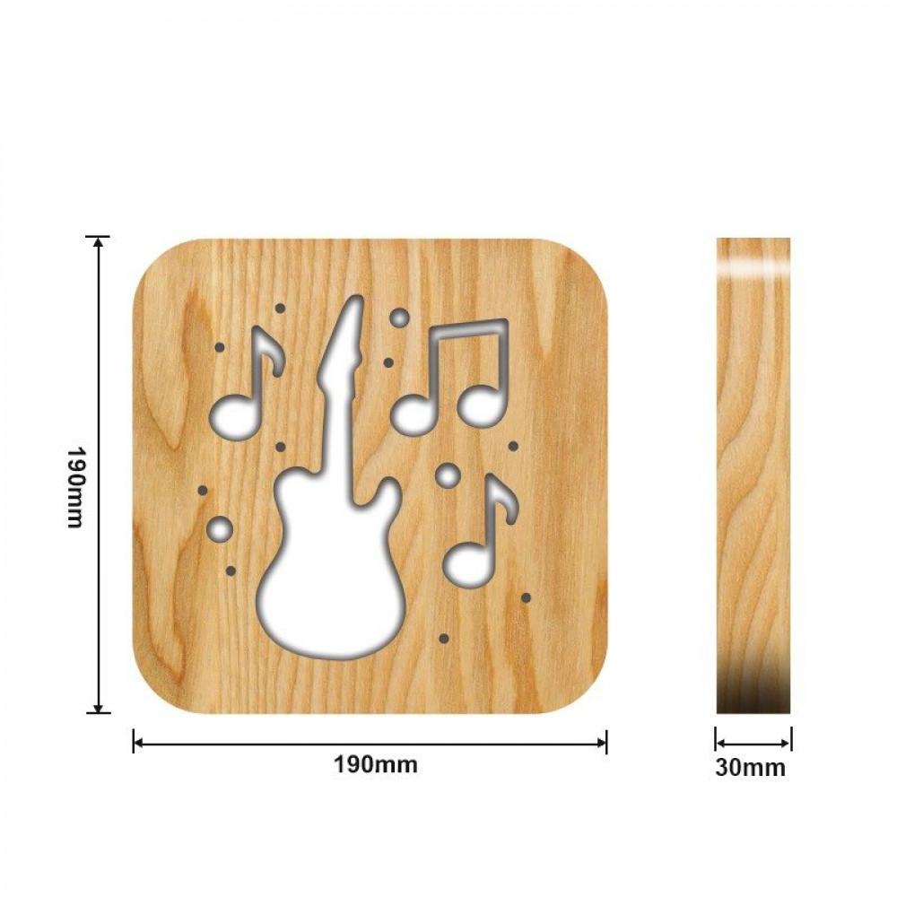 مواسم تحفة فنية على شكل جيتار ونغم القياسات التفصيلية للتحفة والقاعدة
