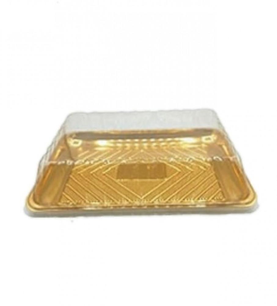 صحن كيك ذهبي مربع وسط مع غطاء شفاف 4 حبات