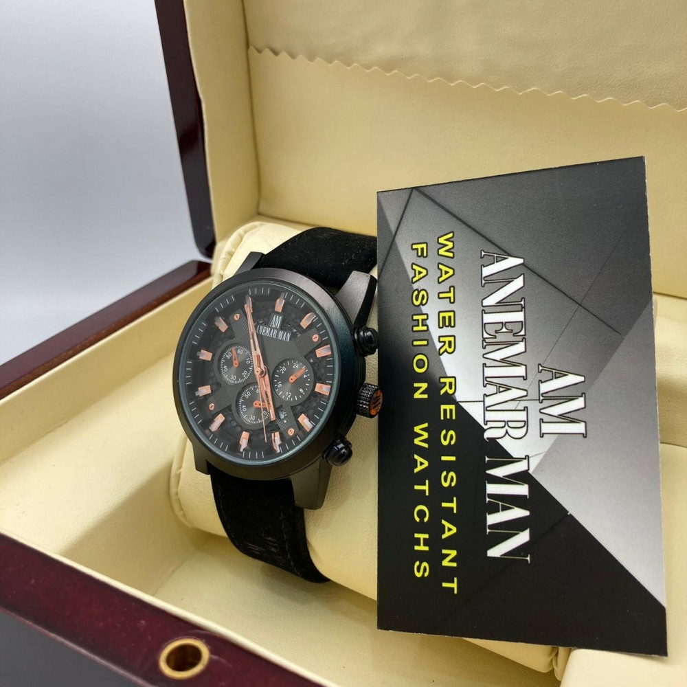 ساعة يد رجالية فخمة جلد شامواه