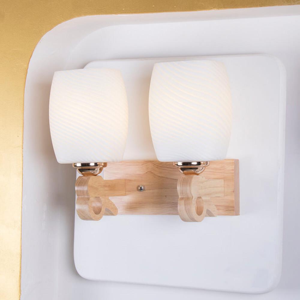 اضاءة جانبية داخلية خشبيية مجوز مع زجاج مموج - فانوس